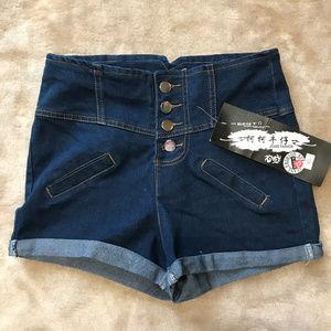 High Rise Jean shorts 4 button fly fashion NWT